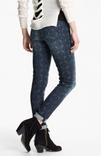 Vigoss Print Skinny Jeans (Dark Wash Brocade) (Juniors)