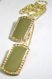2X Gold Plated Necklace Pendant Dog Tag CZ Iced Out Custom Military