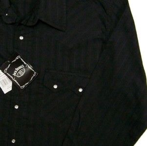 Jack Daniels Old No 7 Brand Screenprint Logo Western Snap Shirt *NWT