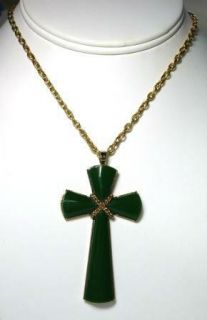 Avon Faux Jade Green Cross Necklace Large Chunky Vintage