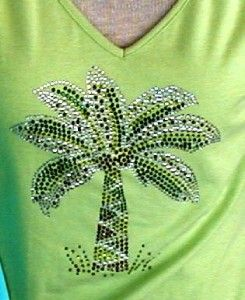 Embellished Rhinestone Tee Shirts Palm Tree