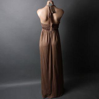 Waist Open Back Beach Casual Jersey Knit Maxi Dress Size L