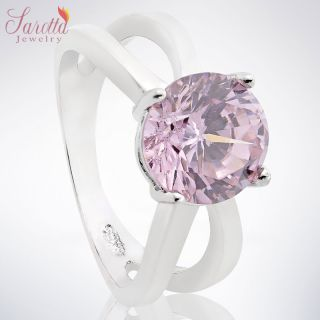 FASHION JEWELRY ROUND CUT PINK SAPPHIRE RING COCKTAIL JEWELLERY SZ Q 8