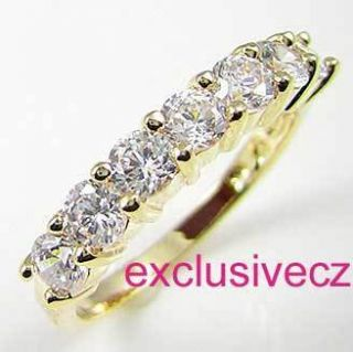 Carat~~~Size 4~~~Yellow Gold Plated 14K GP Wedding Engagement Band CZ