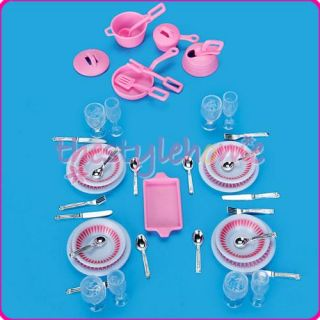 40pcs Cute Kitchen Dishes Utensils Accessory Set for Barbie Doll