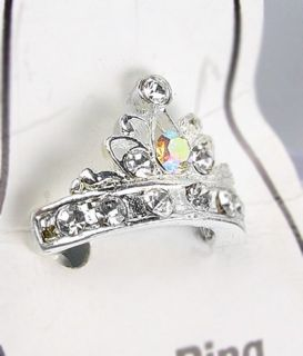 Sparkle Silver Crystals Tiara Crown Invisible Petite Toe Ring
