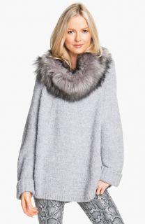 MICHAEL Michael Kors Faux Fur Trim Poncho Sweater