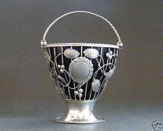 Very Good David Bell Georgian Sterling Silver Sugar Basket Blue Glass