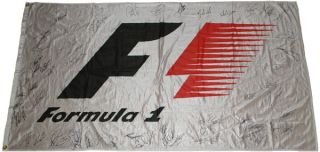 Formula 1 White 60x36 inches Flag Signed by 56 F1 Drivers Schumacher