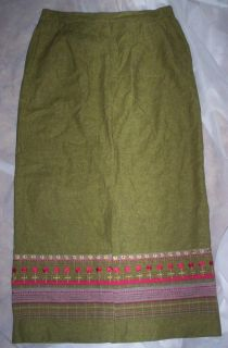 GORGEOUS DAVID BROOKS LINEN GREEN EMBROIDERED BOHO LONG STRAIGHT SKIRT
