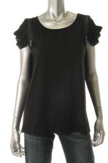 Cynthia Steffe New Ellie Black Zipper Pleated Cap Sleeve Pullover Top