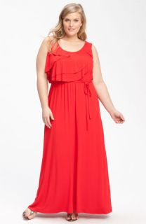 Calvin Klein Ruffle Front Jersey Maxi Dress (Plus)