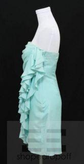 Cynthia Steffe Aqua Blue Silk Ruffle Strapless Dress Size M