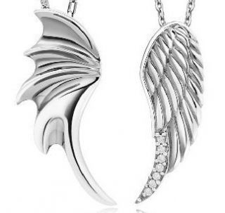 Wings w CZ Pendants 925 Sterling Silver Couple Necklaces