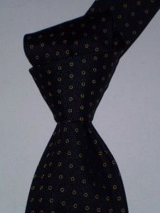 175 Versace Navy w Gold Circles Mens 3 4 Italy Twill Light Silk Tie