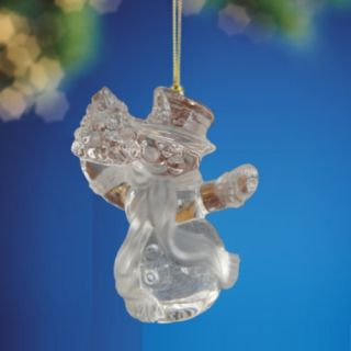 The Crystal Bright Christmas Snowman Ornament gleams with sparkling