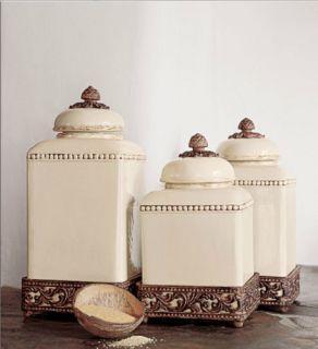 Set Of 3 Birdhouse Kitchen Ceramic Canister Set