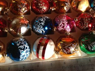 Vintage Small Glass Christmas Tree Ornaments Made in Columbia for Kurt