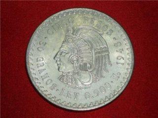 1948 Cuauhtemoc 90% Silver Aztec Ruler Cinco Pesos Mexico city Mint #