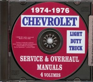 1974, 1975 & 1976 Pickup, Van, Blazer, Suburban & Truck Shop Manual CD