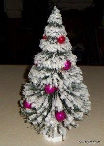 13 White Bottle Brush Christmas Tree St Nick Original Box Hahn