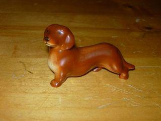 1956 GOEBEL BROWN & CREAM DASCHUND DOG FIGURINE WEST GERMANY