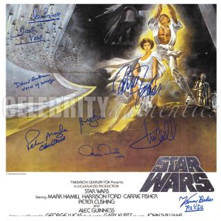Star Wars Cast Signed A New Hope 27x40 Poster A Harrison Ford Hamill