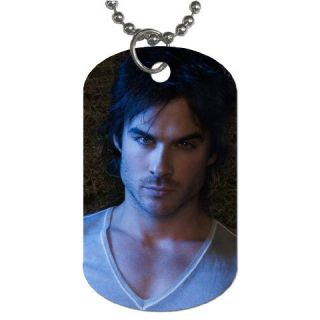 The Vampire Diaries Damon Dog Tag Keychain Necklace