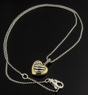 David Yurman Cable Heart Necklace 18k Gold and Sterling Silver w/ Box