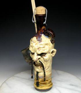 Freakin Sweet Clay High Fired Sake Bottle by Face Jug Maker Dan