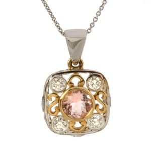 Jane Wullbrandt 18K Gold Pink Morganite Diamond Pendant
