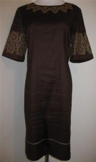 DANA BUCHMAN Brown Embroidery Dress Linen Blend Short Sleeve Size Sz