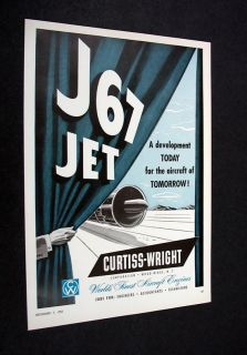 Curtiss Wright J67 J 67 Jet Engine 1953 print Ad