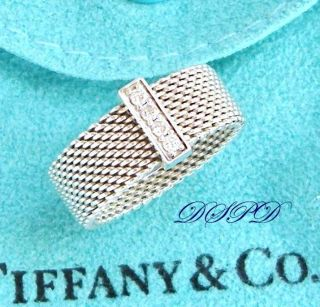 Authentic Tiffany Co Sterling Silver Somerset Diamond Ring S6