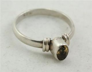 Vintage Custom Sterling Silver Jewelry Ring Citrine Size 6 1.8G