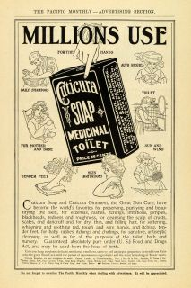 1907 Ad Cuticura Medicinal Toilet Skin Soap Box Pricing   ORIGINAL