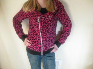 Abbey Dawn Avril Lavigne Girls Child Leopard Woobie Jacket Large 12 14