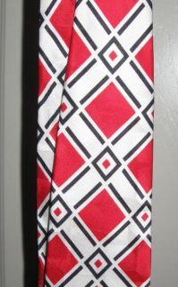 Loudmouth golf tie necktie Danger red black silk diamond pattern