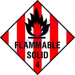 Flammable Solid Warning Danger Vinyl Sticker Decal