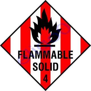 Flammable Solid Warning Danger Vinyl Sticker Decal