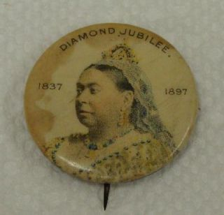 Victoria Diamond Jubilee 1.25 Pinback Button pin Whitehead & Hoag