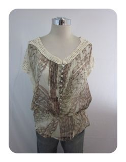 New Daniel Rainn Ivory Animal Crochet Cap Sleeve Layered Shirt Large $