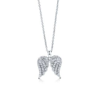 New Sterling Silver 925 CZ Angel Wings Pendant Necklace