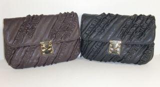 Danielle Nicole Brooke Ruffle Brown Black Leather Like Clutch