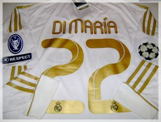 Real Madrid Long Sleeve Soccer Jersey 11 12 Size L Dimaria