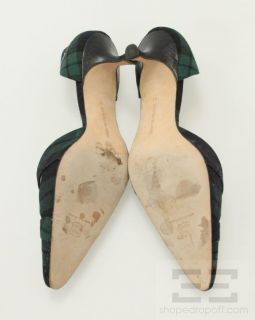 Manolo Blahnik Navy Blue And Green Plaid DOrsay Heels Size 41