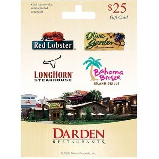 25 Darden Restaurants Gift Card Olive Garden Red Lobster Longhorn