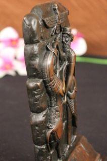 Vintage Bronze Man King Figural Bookend Book End Sculpture Deco