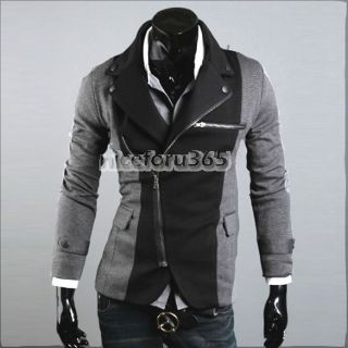 Slim Casual Blazer Suit Top Zip Dress Jacket Black Dark Grey
