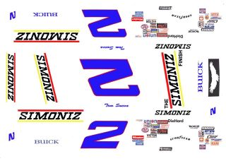Tom Sneva SIMONIZ 1/43rd Scale Slot Car Decals